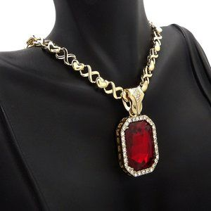 """RED GEMSTONE PENDANT & 16"""" 18"""" XO CHAIN NECKLACE"""